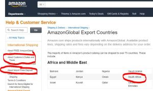 Amazon Global Export chart for ordering from Amazon in South Africa